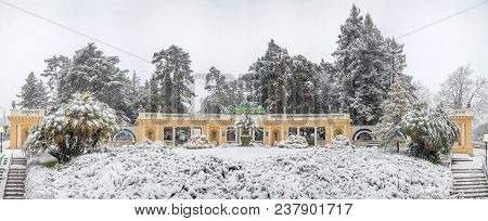 Sochi, Russia - January 29, 2017: Entrance Colonnade Of The Arboretum.