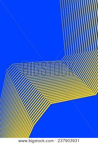 Blue Yellow Color. Linear Background. Design Elements. Wave Of Many Gray Lines. Protective Layer Ban
