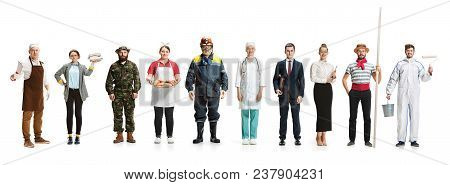 Collage About Different Professions. Group Of Men And Women In Uniform Standing At Studio Isolated O