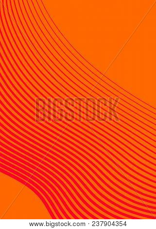 Orange Red Color. Linear Background. Design Elements. Wave Of Many Gray Lines. Protective Layer Bank