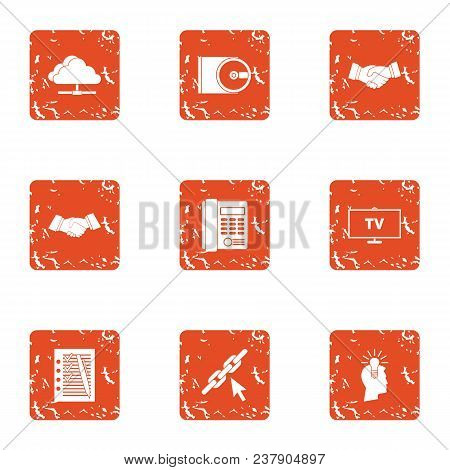 Commercial Terms Icons Set. Grunge Set Of 9 Commercial Terms Vector Icons For Web Isolated On White
