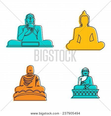 Buddha Statue Icon Set. Color Outline Set Of Buddha Statue Vector Icons For Web Design Isolated On W