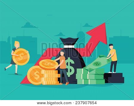 Vector Illustration Of Virtual Business Assistant. Money, Cards Investment Management. Graphic Desig