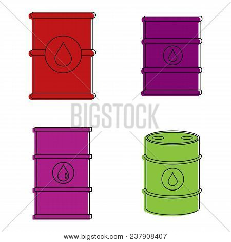 Barrel Icon Set. Color Outline Set Of Barrel Vector Icons For Web Design Isolated On White Backgroun