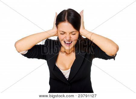 Screaming Woman Covering Ears.