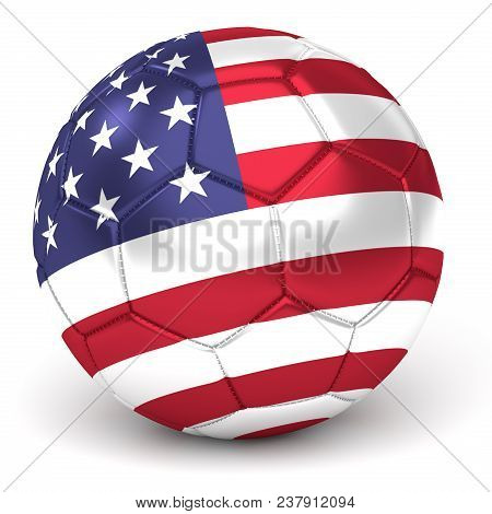 A Soccer Ball With Flag Of Usa, Isolated On White