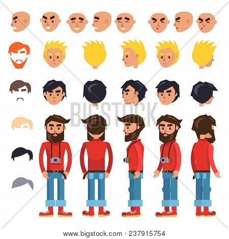 Hipster Cartoon Character Constructor Various Heads, Emotions, Haircuts And Hair Colors. Bearded Man