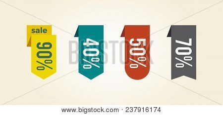 Sale Clearance Tags Icon Isolated On White Background. Vector Illustration With Colorful Different S