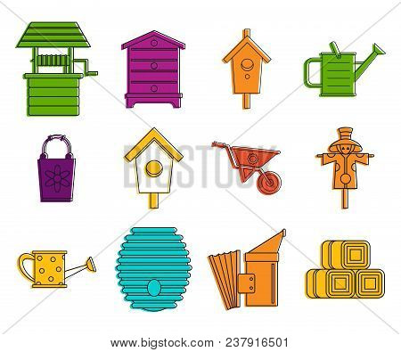 Farming Icon Set. Color Outline Set Of Farming Vector Icons For Web Design Isolated On White Backgro