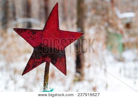 Red Star Preserved In The Cemetery From The Soviet Union, The Burial Of Soviet Soldiers In The Fores