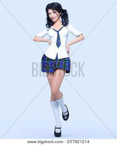 3d Beautiful Young Attractive Girl School Uniform.white Blouse, Blue Short Skirt Cage.woman Studio P