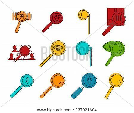 Magnified Glass Icon Set. Color Outline Set Of Magnified Glass Vector Icons For Web Design Isolated
