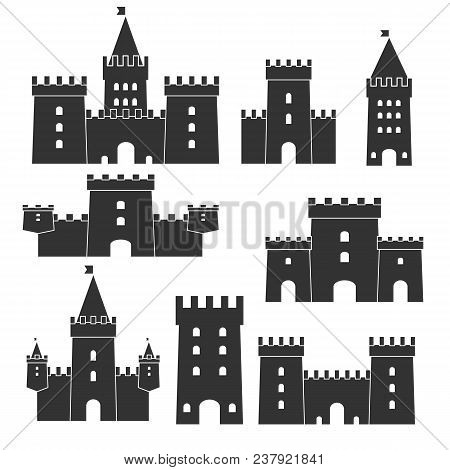Medieval Castle Icon Vector Set. Castle Tower Silhouette In A Flat Style. Knights, Royal, Princess C