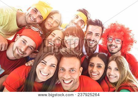 Happy Sport Friends Taking Selfie At World Soccer Event - Friendship Concept With Young People Havin
