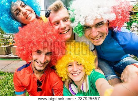 Football Supporter Fans Friends Taking Selfie After Soccer Cup Match Hanging Around Together - Young