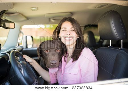 Smiling Young Woman Sitting On Driver Seat With Pet Chocolate Labrador In Car Looking Outside.
