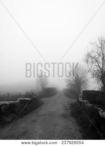 Rural Single Track Road And Old Stone Built Bridge Over Stream, Taken On Early Misty Spring Morning