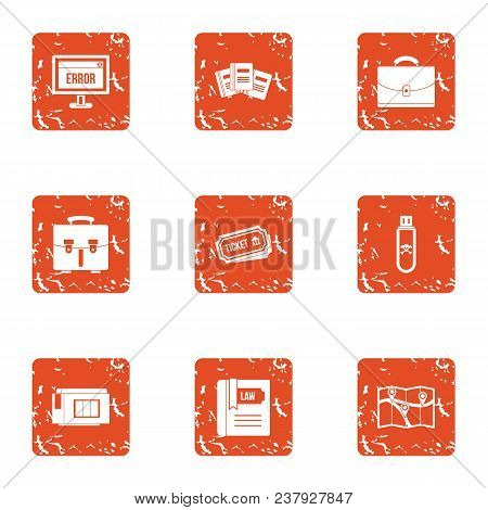 Wrong Way Icons Set. Grunge Set Of 9 Wrong Way Vector Icons For Web Isolated On White Background