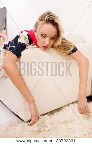 Sexual Pretty Girl Lying On Sofa