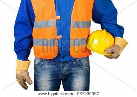 Closeup Construction Carpenter Tradesman Close-up Helmet Man