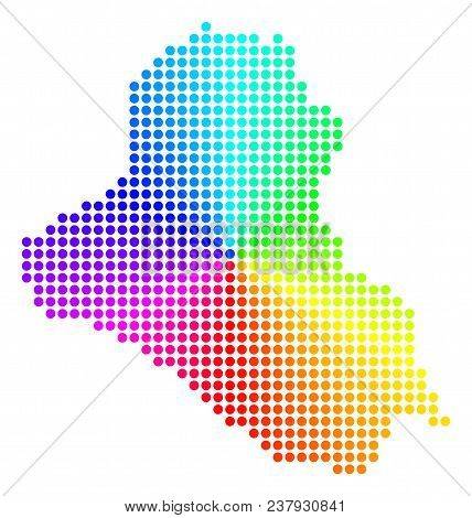 Spectrum Dot Iraq Map. Vector Geographic Map In Bright Spectrum Colors With Circular Gradient. Color