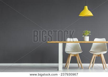 Dark Grey Dining Room Interior