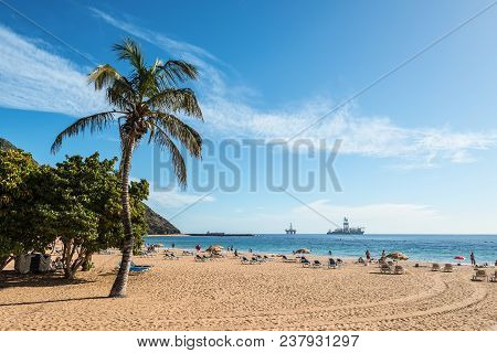 San Andres, Canary Islands, Spain - Desember 11, 2016: People Rest On The Famous Las Teresitas Beach
