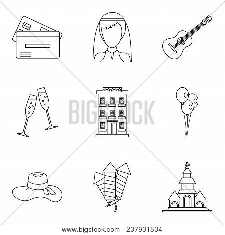 Marriage Supper Icons Set. Outline Set Of 9 Marriage Supper Vector Icons For Web Isolated On White B