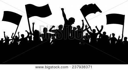 Crowd Of People With Flags, Banners. Sports, Mob, Fans. Demonstration, Manifestation, Protest, Strik