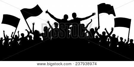 Crowd Of People, Friends At A Party Silhouette. Concert, Festival, Music. Cheer Crowd People. Audien