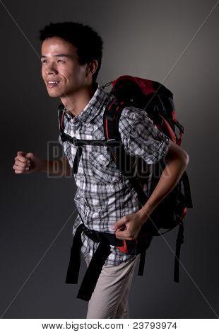 Asian Man Going Hiking