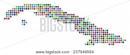 Bright Pixel Cuba Map. Vector Geographic Map In Bright Colors On A White Background. Bright Vector C