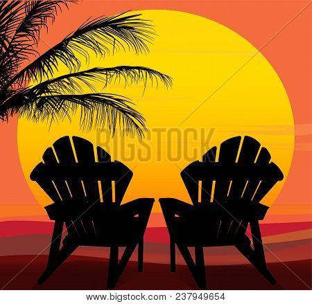 Large Sun With Silhouettes Of Two Lounge Chairs In Foreground