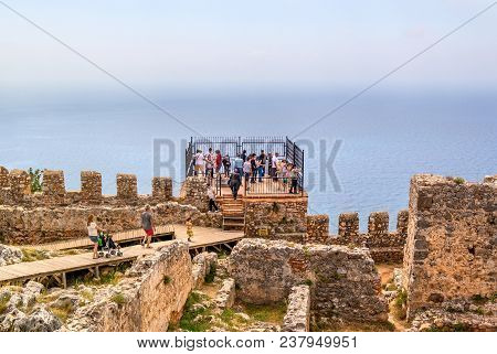 Alanya, Turkey - May 01, 2015: The Fortress Of Alanya In Turkey. Observation Deck On The Fortress Wa