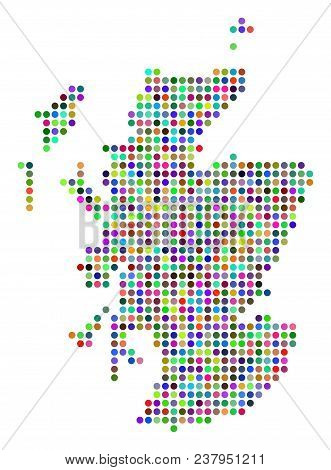 Bright Dot Scotland Map. Vector Geographic Map In Bright Colors On A White Background. Colorful Vect