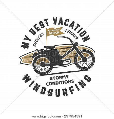 Vintage Hand Drawn Windsurfing, Surfing Tee Graphic Design. Summer Travel T Shirt, Poster Concept Wi