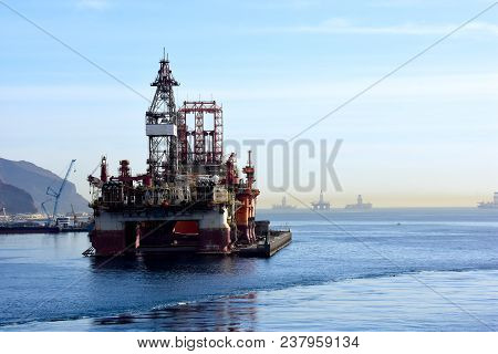 Several Oil Drilling Platforms At Tenerife, Canary Islands.