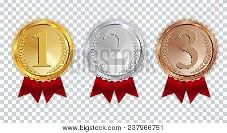 Champion Gold, Silver And Bronze Medal With Red Ribbon Icon Sign First, Secondand Third Place Collec