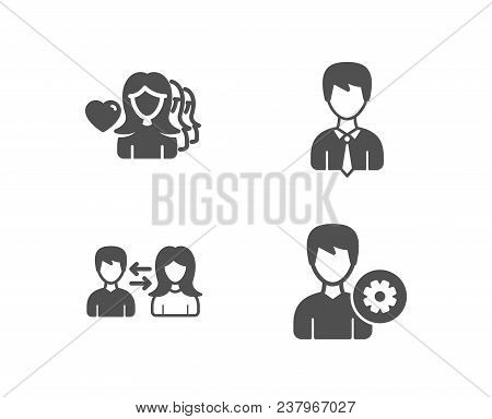 Set Of People Communication, Woman Love And Businessman Icons. Support Sign. People Talking, User Da