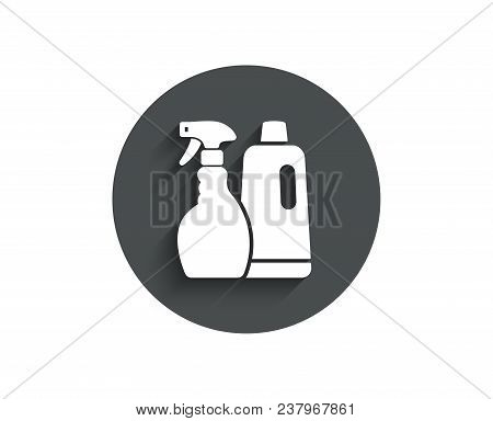 Cleaning Spray And Shampoo Simple Icon. Washing Liquid Or Cleanser Symbol. Housekeeping Equipment Si