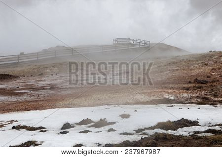 Steam Rises Up At The Gunnuhver Hot Spring On The Reykjanes Peninsula