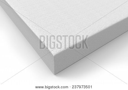 Styrofoam Polymer White Block Isolated On White. 3d Rendering