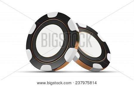 Casino Chips, Isolated On White. Casino Game 3d Chips. Online Casino Banner. Black Chip. Gambling Co