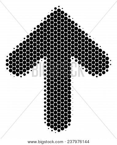 Halftone Dot Arrow Direction Icon. Pictogram On A White Background. Vector Composition Of Arrow Dire
