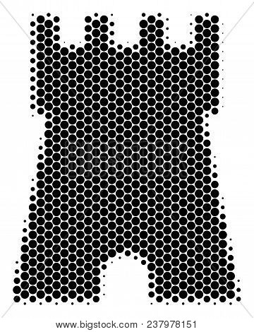 Halftone Round Spot Bulwark Tower Icon. Pictogram On A White Background. Vector Composition Of Bulwa