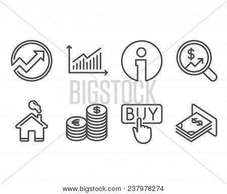 Set Of Currency Audit, Audit And Buying Icons. Currency, Graph And Atm Money Signs. Money Chart, Arr