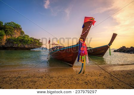 Traditional Thai Longtail Boats Parked At The Koh Hong Island Located In Thanbok Khoranee National P