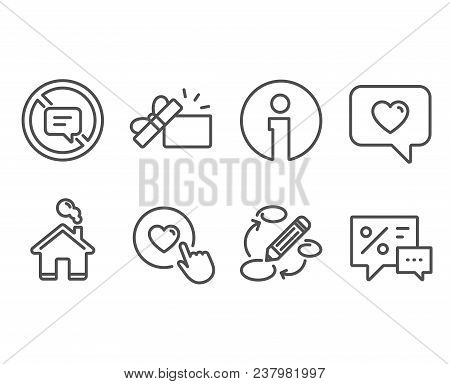 Set Of Keywords, Stop Talking And Like Button Icons. Love Message, Opened Gift And Discounts Signs.