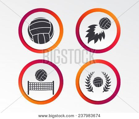 Volleyball And Net Icons. Winner Award Laurel Wreath Symbols. Fireball And Beach Sport Symbol. Infog