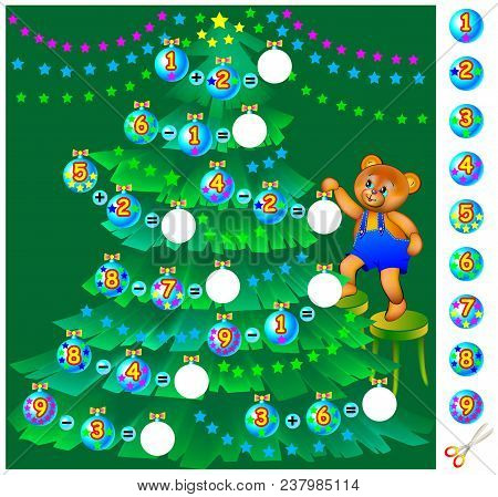 Exercises For Children. Help Teddy Bear Decorate The Christmas Tree. Need To Solve Examples, Cut The